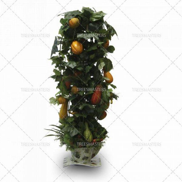 Искусственная композиция: Огород на подоконнике с тыквами, капустой и морковкой в керамической чашке