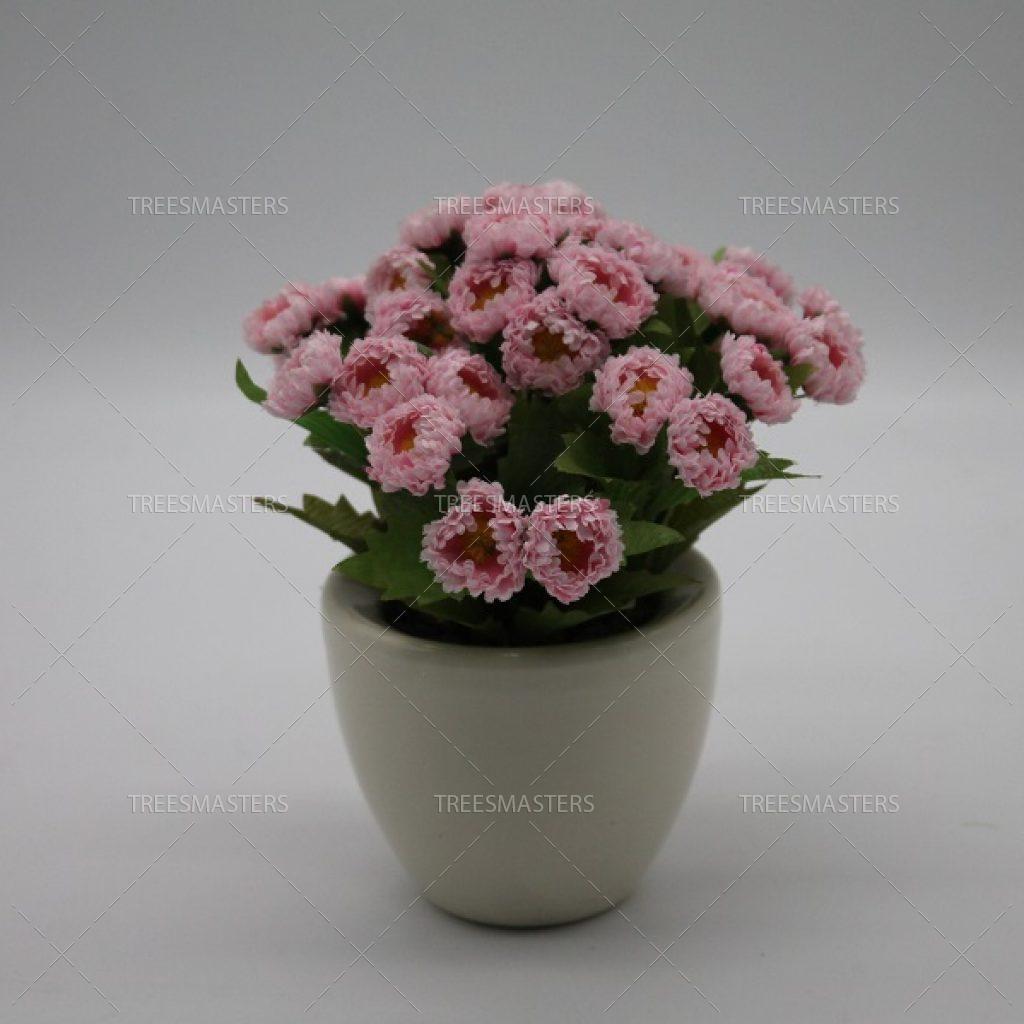 Искусственная композиция: Розовые маргаритки в немецкой керамике