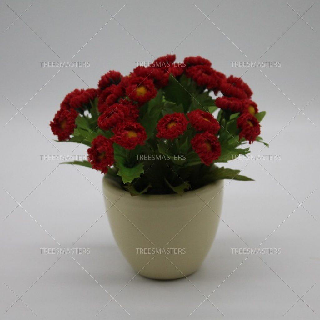 Искусственная композиция: Красные маргаритки в немецкой керамике