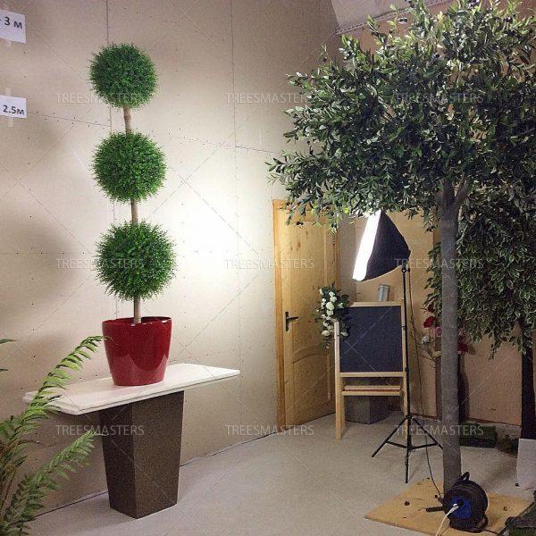 Искусственнное дерево самшит, три шара