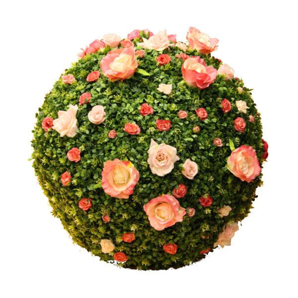 Шар из искусственного самшита с цветами, 50-100см