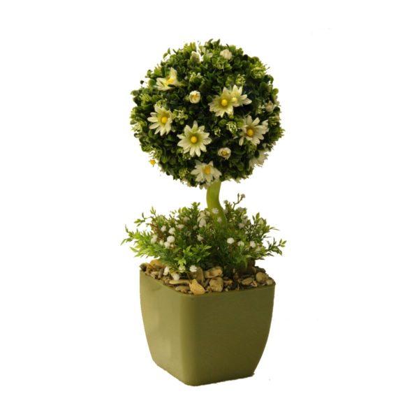 Настольная композиция из самшита с цветами, 30-100 см