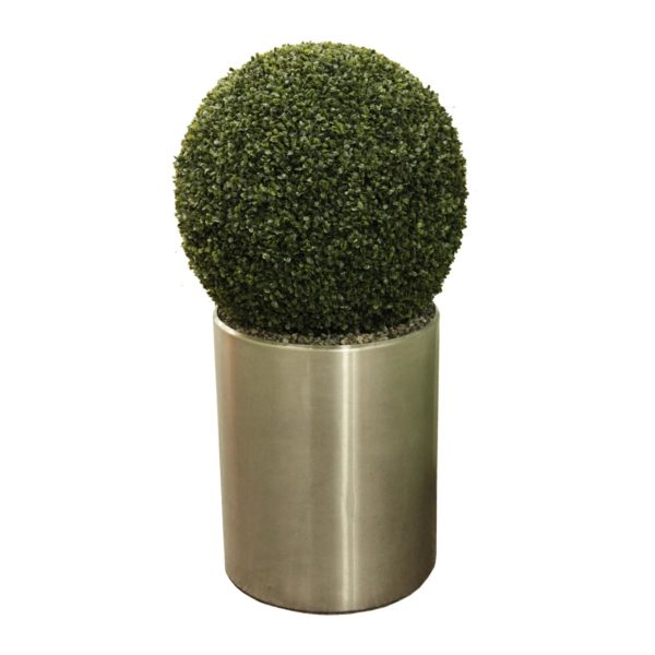 Искусственный самшитовый шар среднего размера в металлическом кашпо, 50-150 см