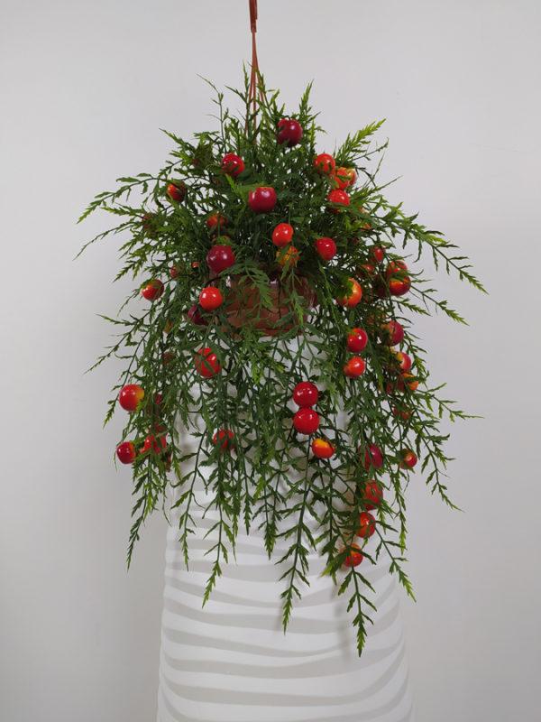 Искусственный томатный куст Черри Каскад в кашпо, 60см